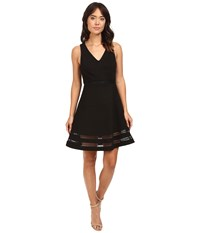 Adelyn Rae Sleeveless Ponte Knit Fit And Flare Dress Black Women's Dress