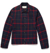 Oliver Spencer Buffalo Plaid Wool Blend Jacket Navy