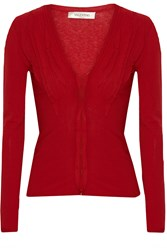 Valentino Ruffle Trimmed Fine Knit Cardigan Red