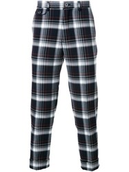 Education From Youngmachines Plaid Cropped Trousers Blue