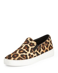Keaton Cheetah Print Calf Hair Slip On Sneaker Natural Michael Michael Kors
