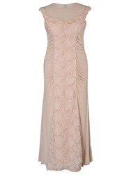 Chesca Floral Beaded Maxi Dress Champagne