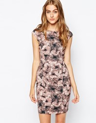 Reiss Louie Bodycon Dress In Flower Print Multi