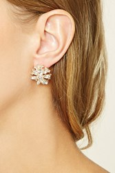 Forever 21 Floral Rhinestone Earrings Gold Clear