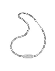 Just Cavalli Touch Signature Plate Chain Necklace Silver