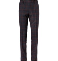 Dunhill Mayfair Slim Fit Plaid Wool Trousers Burgundy