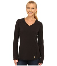 Carhartt Force Long Sleeve V Neck T Shirt Black Women's Long Sleeve Pullover