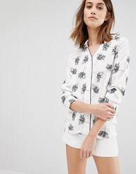 Warehouse Stencil Floral Blouse Ivory White