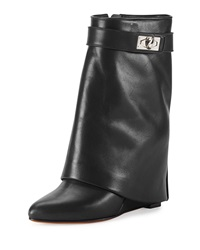 Givenchy Calfskin Shark Lock Fold Over Bootie Black