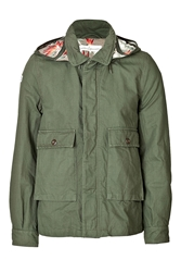 Golden Goose Cotton Parka With Hood In Military Green Flowers