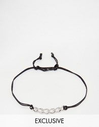 Designb London Chain Woven Bracelet Black Silver