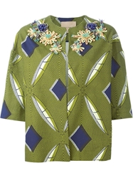 Erika Cavallini Semi Couture Floral Applique Boxy Jacket Green