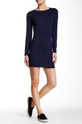 Go Couture Crew Neck Long Sleeve Knit Dress Blue