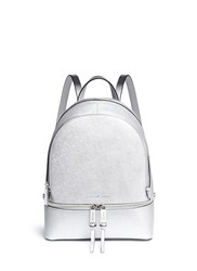 Michael Kors 'Rhea' Small Metallic Saffiano Leather Backpack