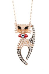 Amorium Rose Gold Plated Sterling Silver Cz Black Cat Pendant Necklace Multi