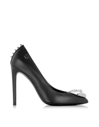 Philipp Plein Fish Black Leather High Heel Pump W Panther Detail And Studs