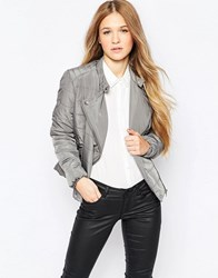Vero Moda Short Padded Jacket With Asymmetric Zip Pewter Grey