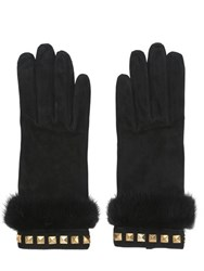 Mario Portolano Suede Gloves With Mink Fur And Studs