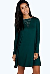Boohoo Scoop Neck Long Sleeve Swing Dress Bottle