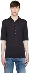 Burberry Navy Silk Knit Polo