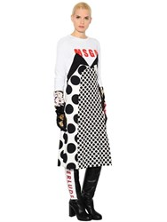 Msgm Logoed And Printed Crepe And Jersey Dress