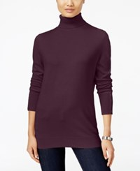Jm Collection Button Cuff Turtleneck Sweater Only At Macy's Maroon Dahlia