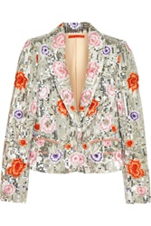Alice Olivia Floral Embroidered Sequined Silk Satin Jacket Green