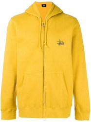 Stussy Logo Print Zipped Hoodie Yellow Orange