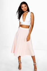 Boohoo Plain Full Circle Midi Skirt Nude