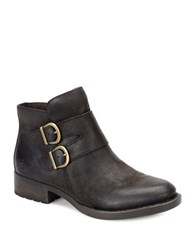 Born Adler Double Buckle Riding Leather Ankle Boots Brown