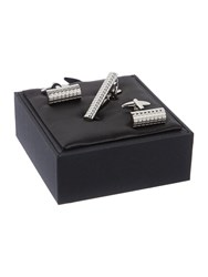 New And Lingwood Grid Cufflink Tie Clip Set Silver