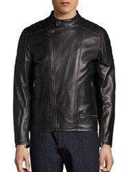 Salvatore Ferragamo Moto Style Leather Jacket Nero