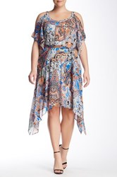 Robbie Bee Cold Shoulder Printed Dress Plus Size Multi
