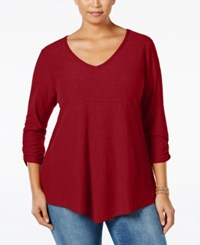 Styleandco. Style Co. Plus Size Ruched Sleeve Handkerchief Hem Top Only At Macy's New Red Amore