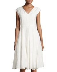 Neiman Marcus Linen Fit And Flare Dress Crescent Ivory
