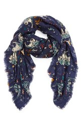 Hinge Women's Floral Print Scarf Navy Combo