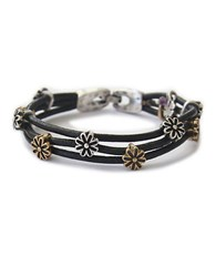 Lucky Brand Silver And Goldtone Flower Bracelet Black Two Tone
