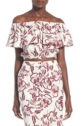 Women's Astr 'Rosa' Off The Shoulder Linen And Cotton Crop Top Sangria Floral