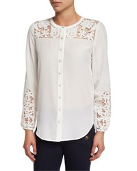 Veronica Beard Alma Long Sleeve Embroidered Silk Blouse Off White