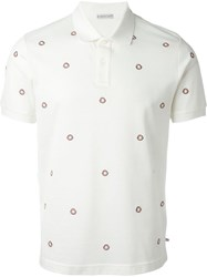 Moncler Logo Embellished Polo Shirt Nude And Neutrals