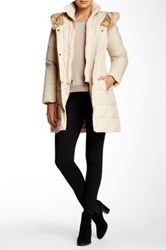 Larry Levine Faux Fur Collar Puffer Down Jacket Beige