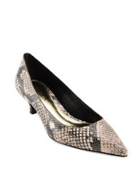 Lauren Ralph Lauren Abbott Snakeskin Embossed Leather Kitten Heels Cream