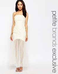Jarlo Petite Felicity Bandeau Maxi Dress With Ruched Bodice And Tulle Skirt Cream