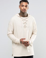 Asos Oversized Longline Long Sleeve T Shirt With Lace Up Hood In Off White Off White Cream