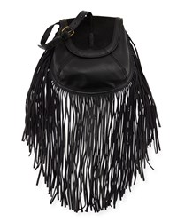 Isabella Fiore Jackson Calf Hair Fringe Crossbody Bag Black