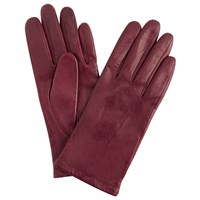 John Lewis Fleece Lined Leather Gloves Claret
