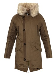Yves Salomon Rabbit Fur Lined Cotton And Wool Parka