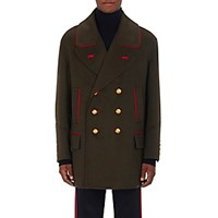 Burberry Xo Barneys New York Men's Cashmere Wool Double Breasted Peacoat Dark Green