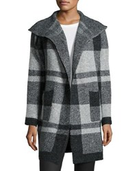 Metric Furs Plaid Open Front Long Cardigan Gray Pattern