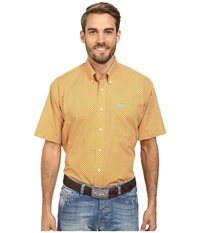 Cinch Short Sleeve Plain Weave Print Shirt Orange Men's Short Sleeve Button Up